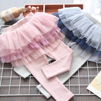 Нов модел детски пола-панталон в сив и розов цвят за момичета