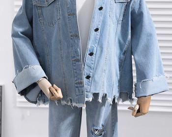 Модерна дамско дънково яке с О-образна яка и скъсани мотиви