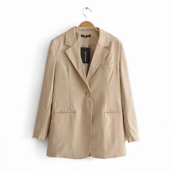 Дамско сако -дълъг модел в бежов цвят