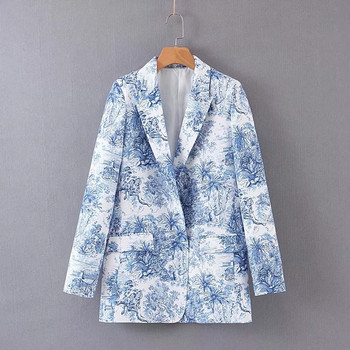 Дамско сако с V-образна яка и флорален десен