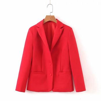 Дамско сако класически модел в червен и зелен цвят