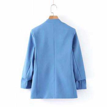 Дамско сако с V-образно деколте в син цвят