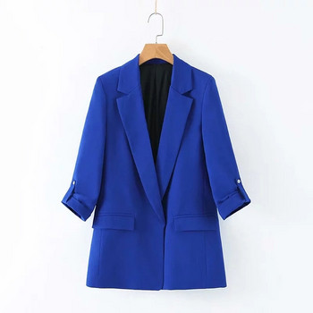 Дамско стилно сако с V-образно деколте в тъмно син цвят