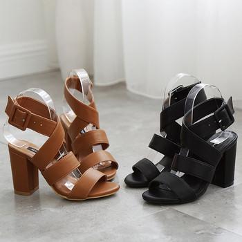 Стилни дамски сандали с дебел ток в черен и кафяв цвят
