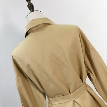 Тънко пролетно-есенно яке в с колан на талията в кафяв цвят