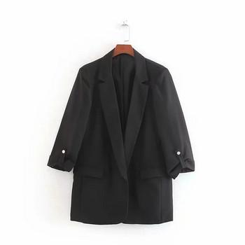 Нов модел стилно дамско сако в син и черен цвят
