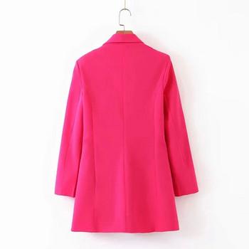 Актуално дамско сако широк модел в розов цвят