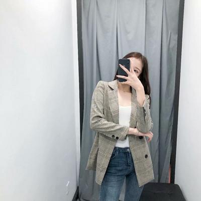 Дамско карирано сако с копчета и дълъг ръкав