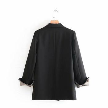 Дамско сако с копчета в черен цвят