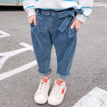 Ежедневни детски дънки за момичета с панделка в син цвят