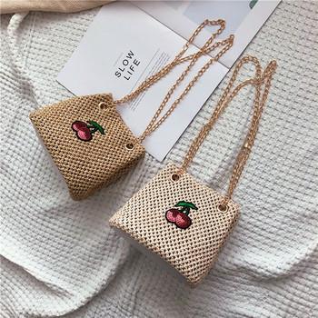 Ежедневна дамска плетена чанта с бродерия в два цвята