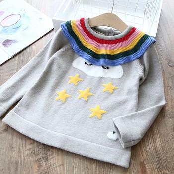 Модерен детски пуловер за момичета в сив цвят