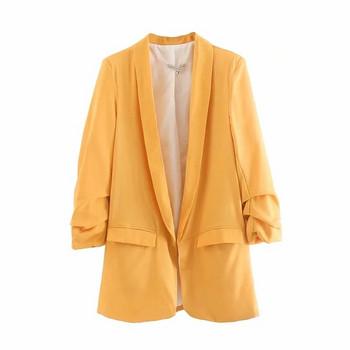 Стилно дамско сако 7/8 ръкав в жълт цвят