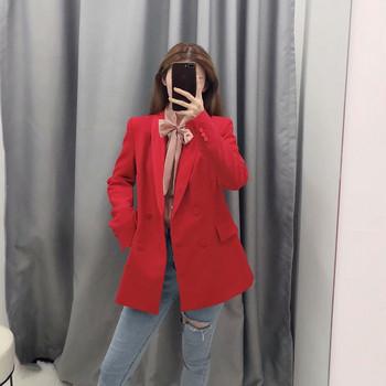 Дамско елегантно сако в червен цвят