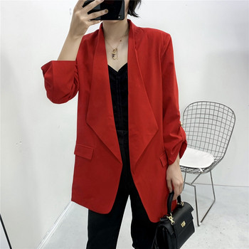 Дамско сако с 7/8 ръкав и джобове в бордо и черен цвят