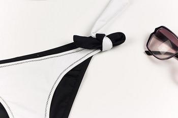 Модерен дамски бански костюм от две части в бял и черен цвят