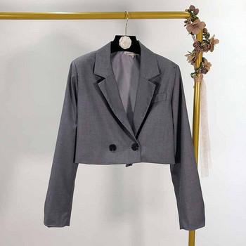 Късо дамско сако с дълъг ръкав в два цвята