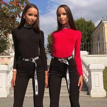 Модерно дамско боди в черен и червен цвят с дълъг ръкав