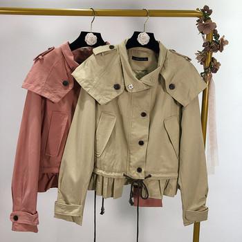 Тънко пролетно-есенно яке в кафяв и розов цвят