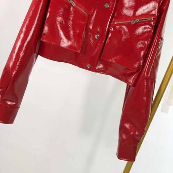 Дамско късо яке от еко кожа в червен цвят