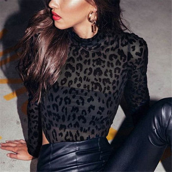 Дамско модерно боди в черен цвят с животински принт