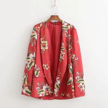 Дамско сако с флорлен десен в червен цвят