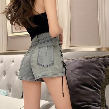 Дамски модерни къси панталони с висока талия с връзки