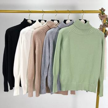 Дамски пуловер с поло яка - няколко цвята