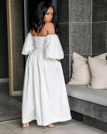 Модерен дамски широк гащеризон с паднали ръкав в бял цвят