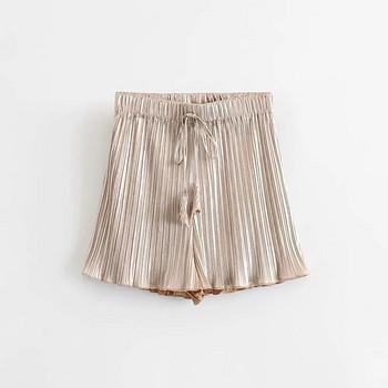 Дамски къси плисирани  панталони с висока талия в златист и сребрист  цвят