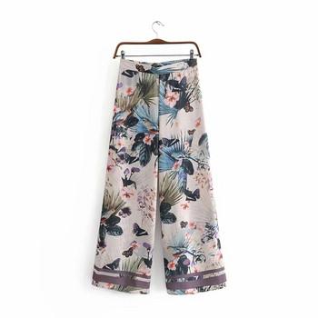 Дамски модерен панталон с апликация и висока талия