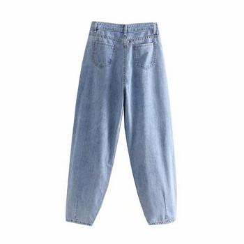 Дамски дълги дънки в син цвят - стандартна талия