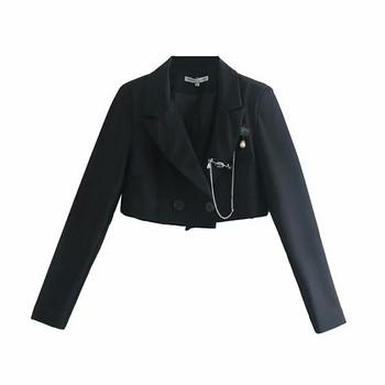 Дамско късо сако в черен цвят с дълъг ръкав