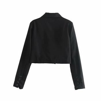 Дамско късо сако в сив и черен цвят с дълъг ръкав