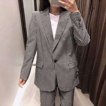 Карирано сако с копче - прав модел