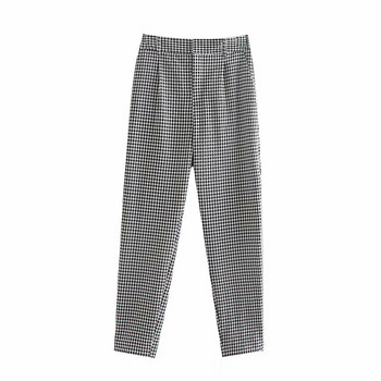 Дамски кариран панталон с висока талия