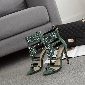 НОВ модел дамски обувки на висок ток с перли и камъни в два цвята