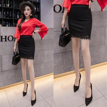 Дамска елегантна пола в черен цвят