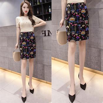 Дамска ежедневна пола с флорален десен с висока талия