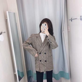 Дамско карирано сако с дълъг  ръкав