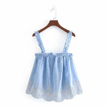 Дамски потник -широк модел в син  цвят