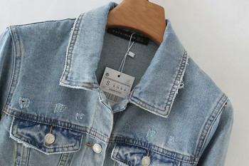 Дамско дънково яке с копчета в син цвят
