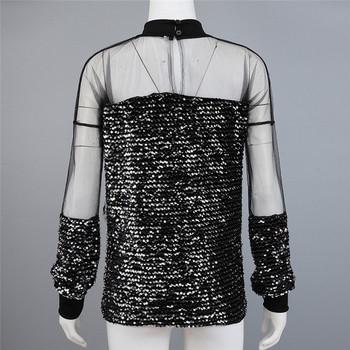 Стилна дамска блуза с дълъг ръкав и пайети в черен цвят