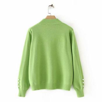 Дамски пуловер с висока яка в  два цвята