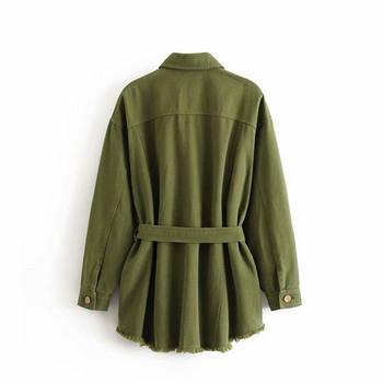 Дълго дънково яке в зелен и розов цвят