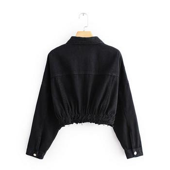 Късо дънково яке в черен цвят  с дълъг ръкав
