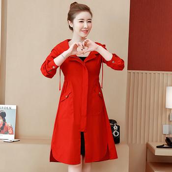 Дамско модерно палто в три цвята с качулка