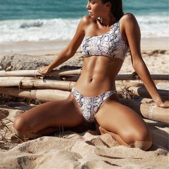Нов модел бански костюм от две части с една презрамки и животински десен