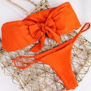 Дамски бански костюм от две части с панделка в черен и оранжев цвят