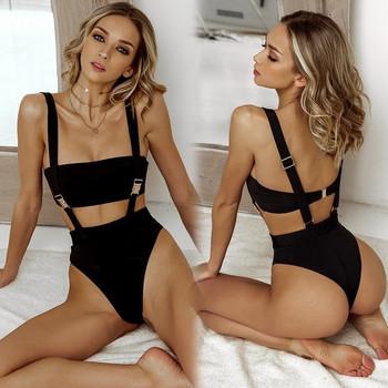 НОВ модел бански  костюм от две части в бял и черен цвят